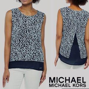 Blue Top MICHAEL Michael KORS w White Split Back